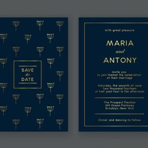 Blue and Gold Foil Theme ECard for Whatsapp