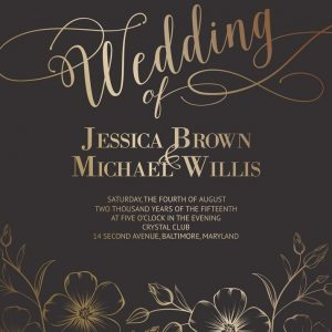 Brown and Gold Foil Digital Wedding Card
