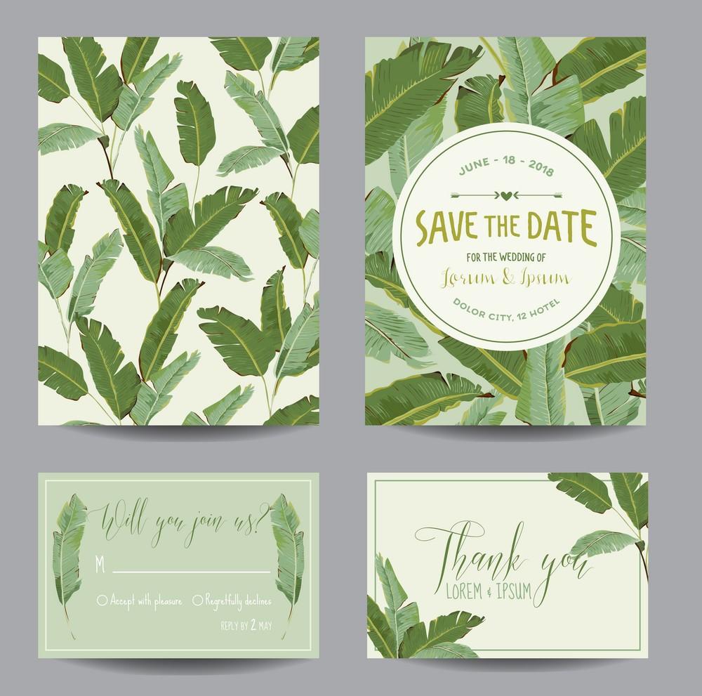 Banana Leaves Wedding Invitation Nature Lover