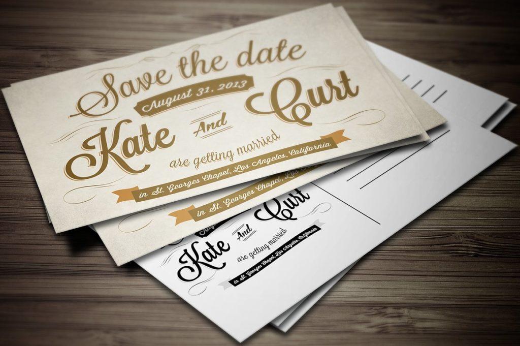Postcard Style Wedding Invitation